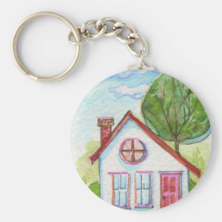 Colorful Watercolor House Basic Round Button Keychain