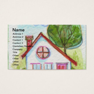 Colorful Watercolor House Business Card