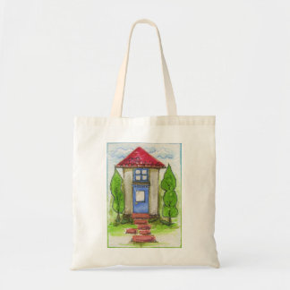 Colorful Watercolor House Painting Canvas Bag