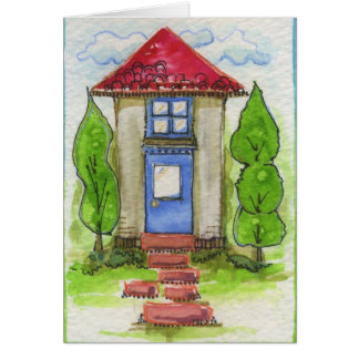 Colorful Watercolor House Painting Card