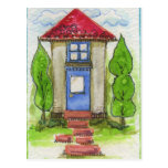Colorful Watercolor House Painting Postcard