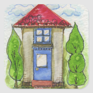 Colorful Watercolor House Painting Square Sticker