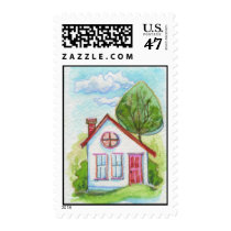 Colorful Watercolor House Postage
