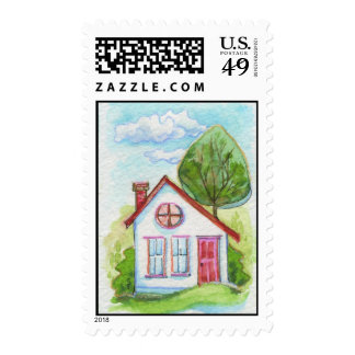 Colorful Watercolor House Postage Stamps