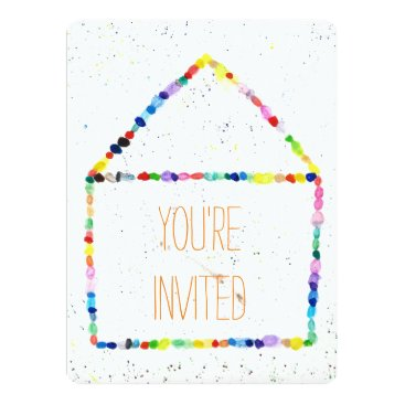 Beach Themed Colorful WaterColor house 'You're Invited' cards