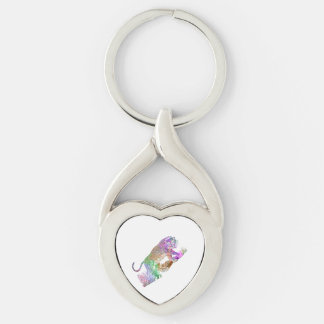Colorful Watercolor Leopard Artistic Draw Silver-Colored Heart-Shaped Metal Keychain