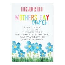 Colorful watercolor mothers day brunch invites