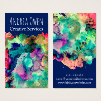 Colorful Watercolor Paint Splatters Over Navy Business Card
