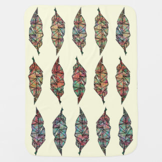 Colorful Watercolor Painted Geometric Feathers Baby Blanket