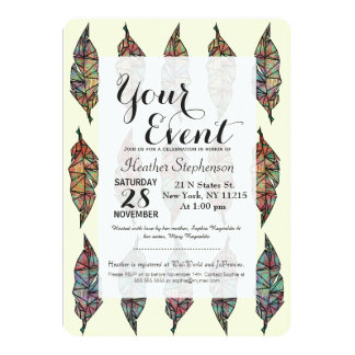 Colorful Watercolor Painted Geometric Feathers Card