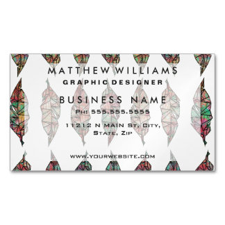 Colorful Watercolor Painted Geometric Feathers Magnetic Business Cards (Pack Of 25)