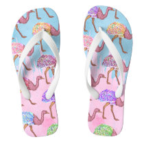 Colorful Watercolor Painted Ostrich Pattern Flip Flops