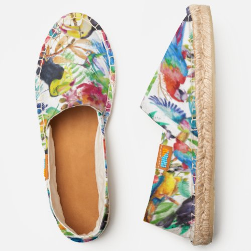 Colorful Watercolor Parrots   Add Your Initial Espadrilles