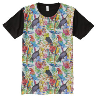 Colorful Watercolor Parrots All-Over-Print Shirt