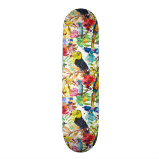 Colorful Watercolor Parrots Skateboard