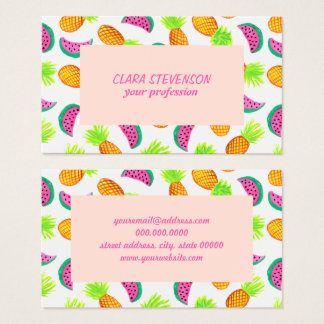 colorful watercolor pineapple watermelon pattern business card