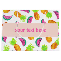 colorful watercolor pineapple watermelon pattern large gift bag