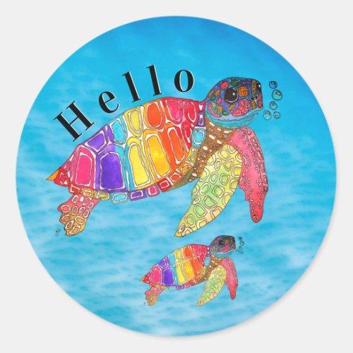 Colorful Watercolor Sea Turtle Classic Round Sticker
