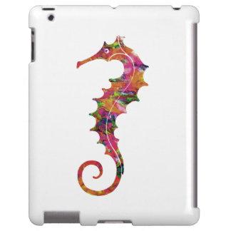 Colorful watercolor seahorse