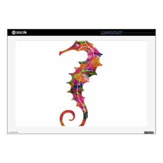 "Colorful watercolor seahorse 17"" laptop skins"