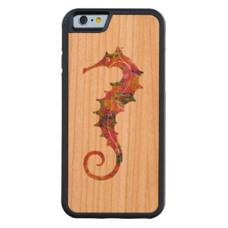 Colorful watercolor seahorse carved® cherry iPhone 6 bumper case
