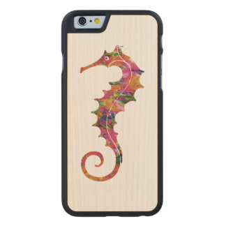 Colorful watercolor seahorse carved® maple iPhone 6 case