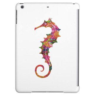 Colorful watercolor seahorse iPad air cover