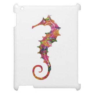 Colorful watercolor seahorse iPad case