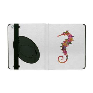 Colorful watercolor seahorse iPad folio cases