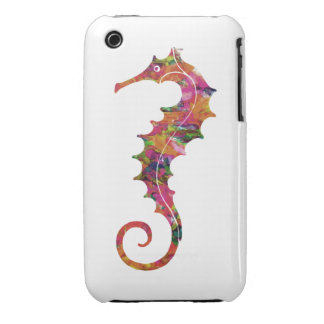 Colorful watercolor seahorse iPhone 3 cover