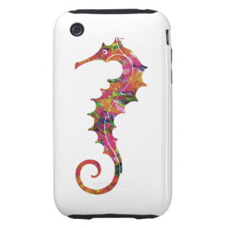 Colorful watercolor seahorse iPhone 3 tough cover
