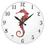 Colorful watercolor seahorse large clock