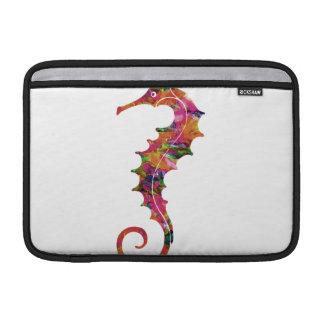 Colorful watercolor seahorse MacBook sleeve