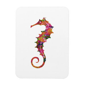 Colorful watercolor seahorse magnet