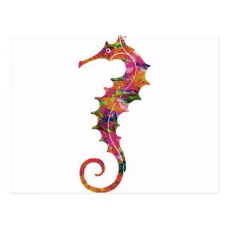 Colorful watercolor seahorse postcard