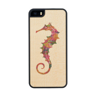 Colorful watercolor seahorse wood iPhone SE/5/5s case