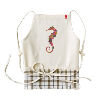 Colorful watercolor seahorse zazzle HEART apron