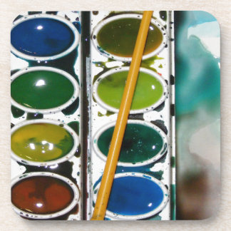 Colorful Watercolor Set Beverage Coaster