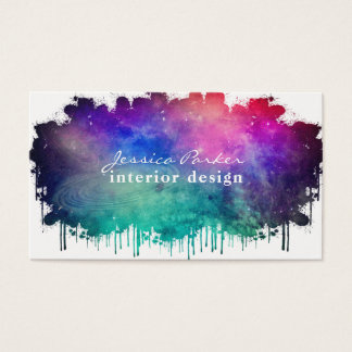 Colorful watercolor space splash business card