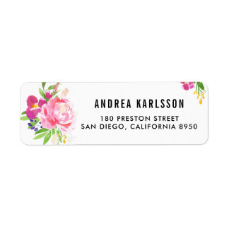 Colorful Watercolor Spring Blooms Address Label