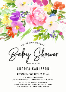 Colorful Watercolor Spring Blooms Baby Shower Invitation
