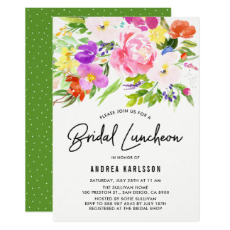 Colorful Watercolor Spring Blooms Bridal Luncheon Card