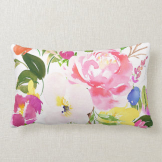 Colorful Watercolor Spring Blooms Floral Lumbar Pillow