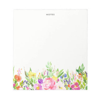 Colorful Watercolor Spring Blooms Floral Notepad