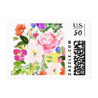 Colorful Watercolor Spring Blooms Floral Stamp