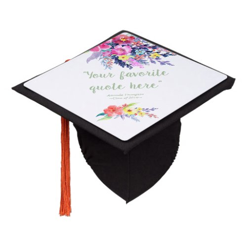 Colorful Watercolor Spring Floral personalized Graduation Cap Topper