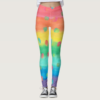 Colorful Watercolor Stripes and Spots Leggings