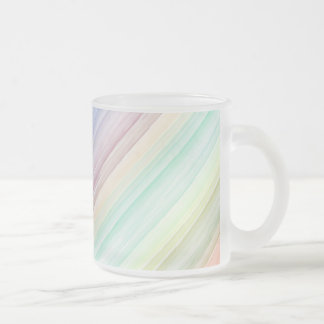 Colorful watercolor stripes pattern illustration frosted glass coffee mug
