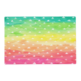 Colorful Watercolor Stripes White Triangles Placemat