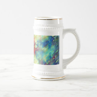Colorful Watercolor Texture Beer Stein